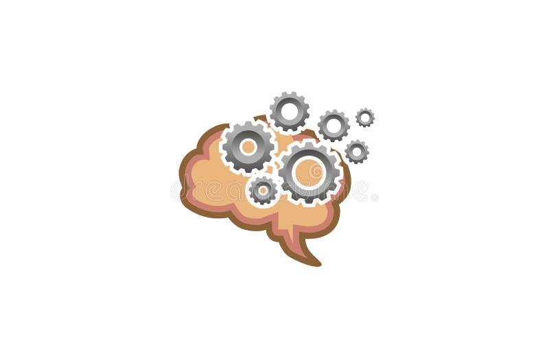 创造性的脑子齿轮头脑标志商标设计例证 库存例证
