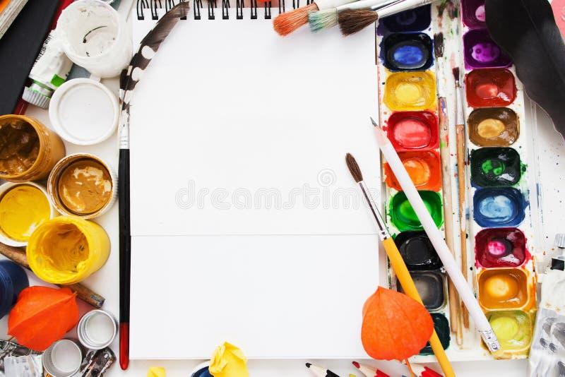 创造性的艺术家工作场所舱内甲板位置,大模型 库存照片
