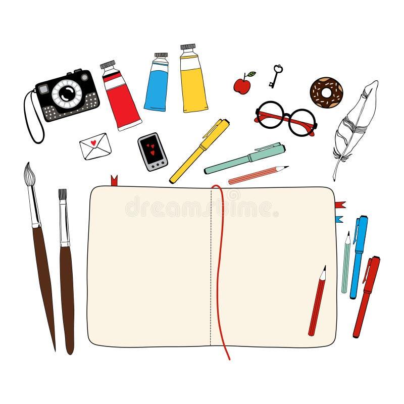 创造性的艺术家的工作区 向量例证