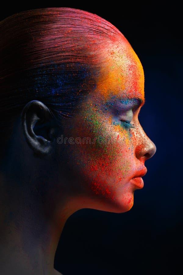 创造性的艺术组成,时装模特儿特写镜头画象 免版税库存照片
