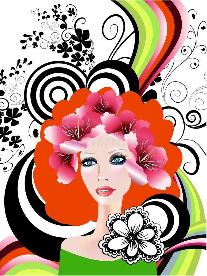 创造性的花卉女孩 皇族释放例证