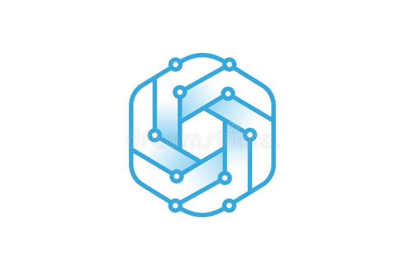 创造性的蓝色六角形技术架线商标 库存例证