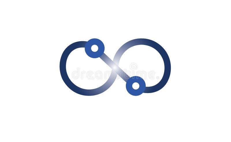 创造性的蓝色技术无限工作技术商标 库存例证