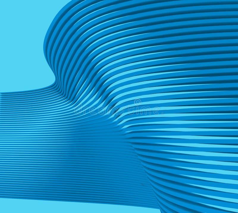 创造性的蓝色波形形式和技术通信 库存例证