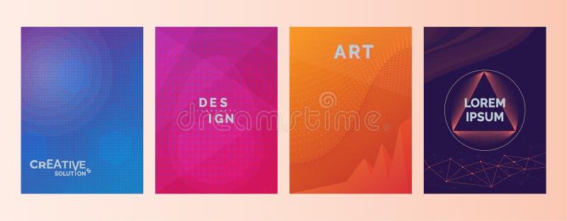 创造性的解答设计艺术在抽象颜色梯度的Lorem Ipsum文本塑造背景 设置盖子,小册子,飞行物 冷静 皇族释放例证