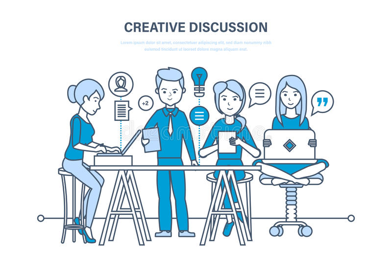 创造性的讨论 企业队,配合合作,通信,交换重要信息 库存例证