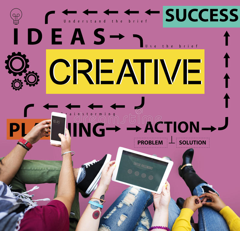 创造性的设计想法想象力启发创造性概念 库存图片
