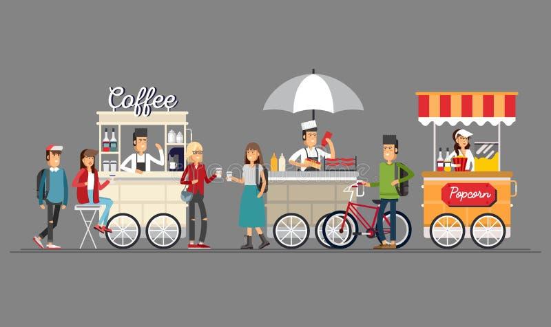 创造性的详细的传染媒介街道咖啡推车、玉米花和热狗购物与卖主 皇族释放例证