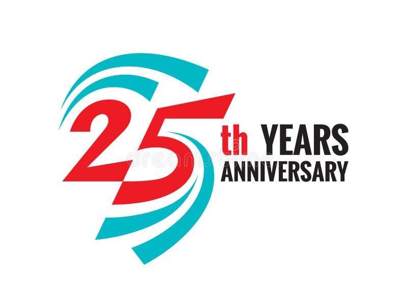 创造性的象征第25年周年 二十五块模板商标徽章设计元素 皇族释放例证