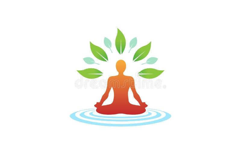 创造性的身体瑜伽位置凝思健康商标 皇族释放例证