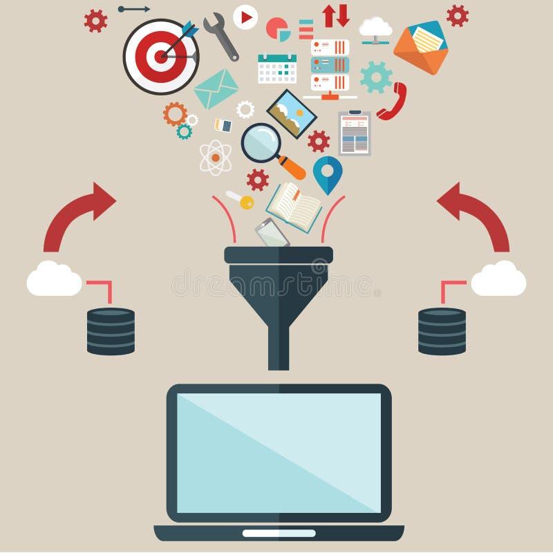 创造性的过程的平的设计例证概念,大数据过滤,数据挖洞,分析概念 向量例证