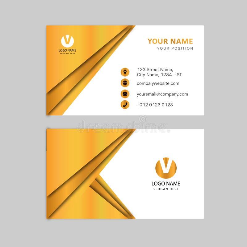 创造性的金子颜色名片设计 向量例证