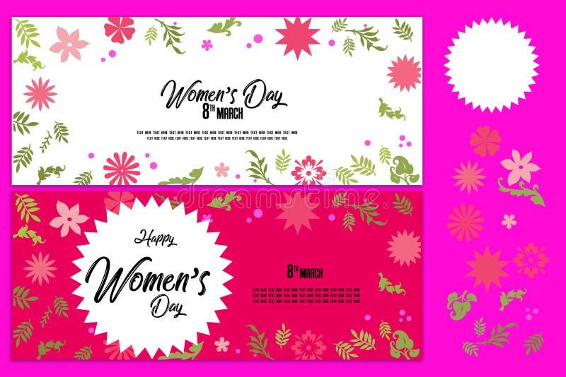 创造性的销售倒栽跳水或横幅集合与折扣提议愉快的妇女` s天庆祝的 库存例证