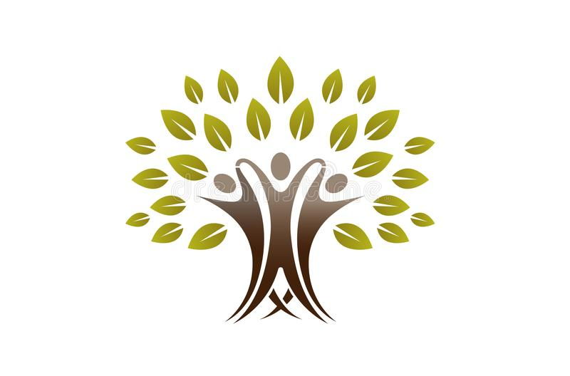 创造性的队人树商标 库存例证