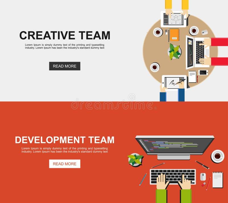 创造性的队和开发小组的横幅例证 分析的,工作,激发灵感平的设计例证概念, 皇族释放例证