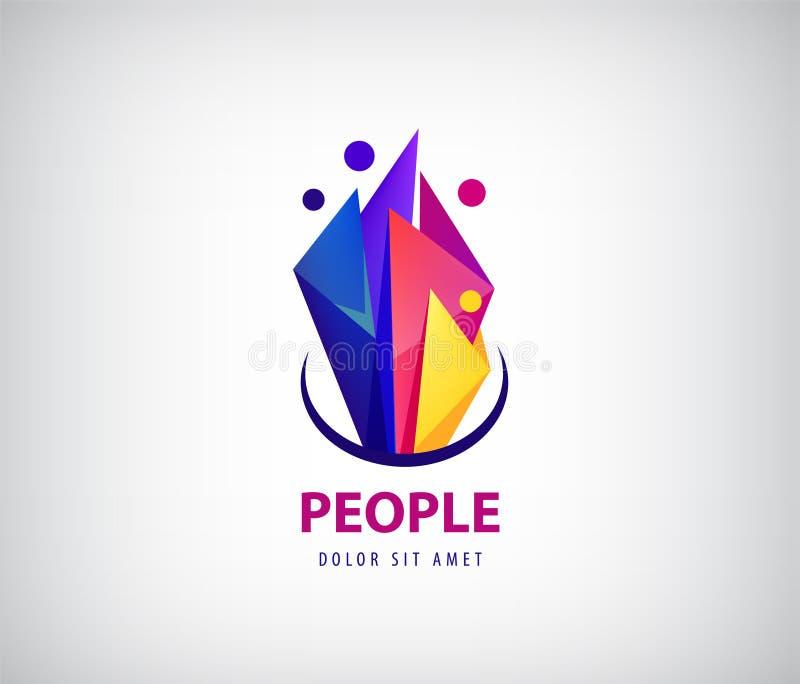 创造性的队商标 五颜六色的抽象人民,雕琢平面的origami设计 导航人的商标、象或者象征模板 皇族释放例证