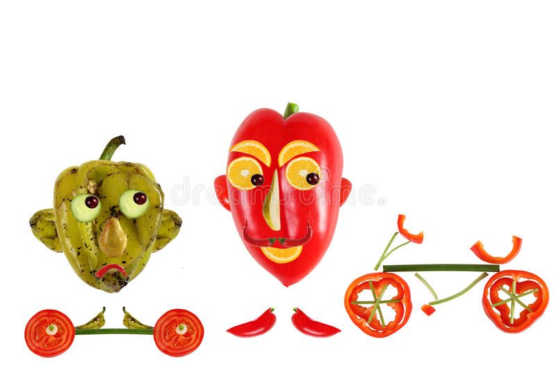 创造性的食物概念 正面和消极滑稽的小的胡椒 库存例证