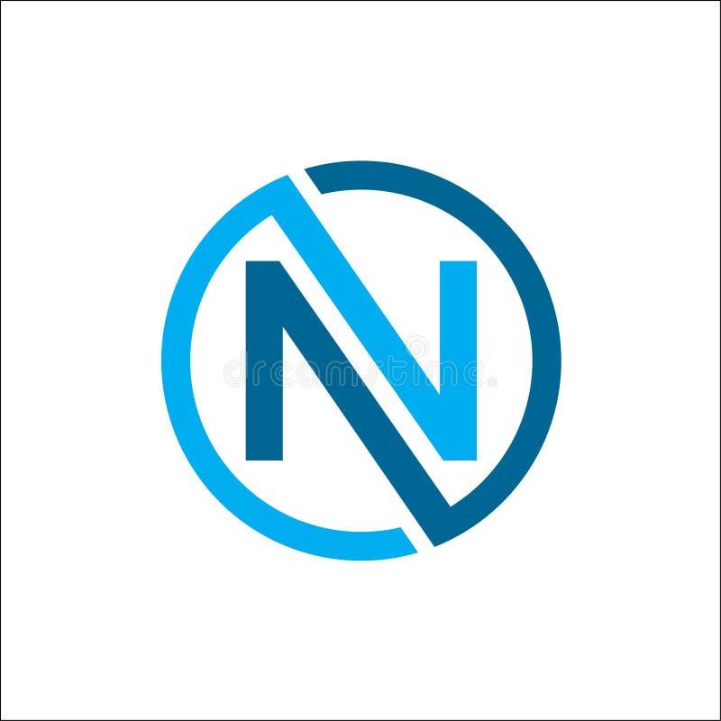 创造性的首写字母n圈子颜色商标传染媒介,线性圈子字母N商标传染媒介 向量例证