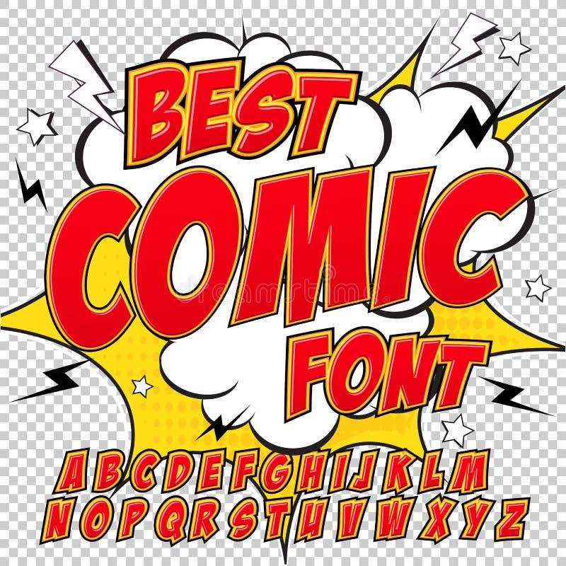 创造性的高细节可笑的字体 在漫画红色样式,流行艺术的字母表 皇族释放例证