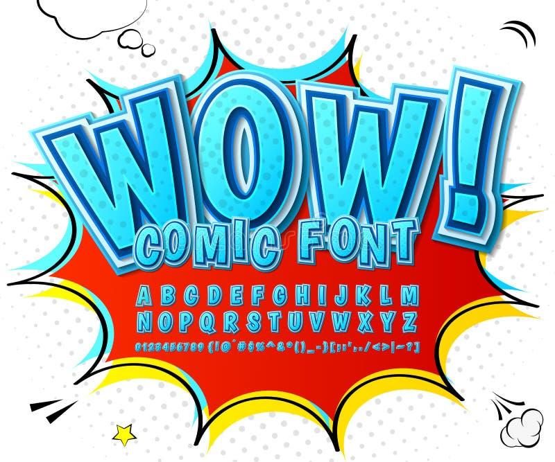 创造性的高细节蓝色可笑的字体 字母表 向量例证