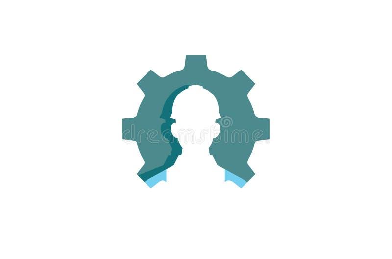 创造性的齿轮工作者承包商商标设计例证 向量例证