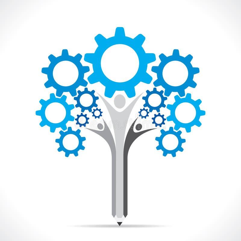 创造性的齿轮铅笔树设计观念 皇族释放例证