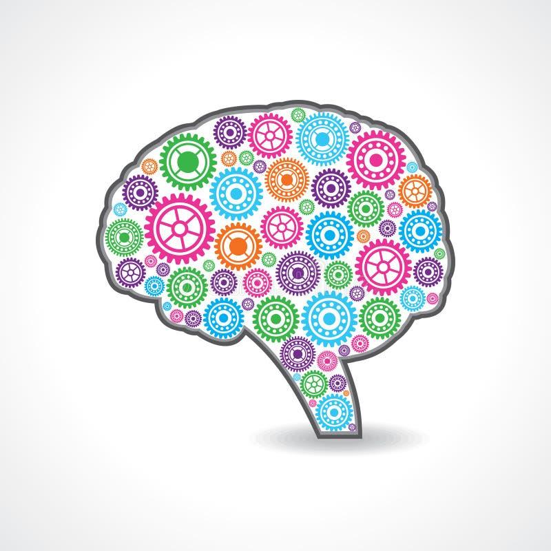 创造性的头脑或脑子与五颜六色的齿轮 向量例证