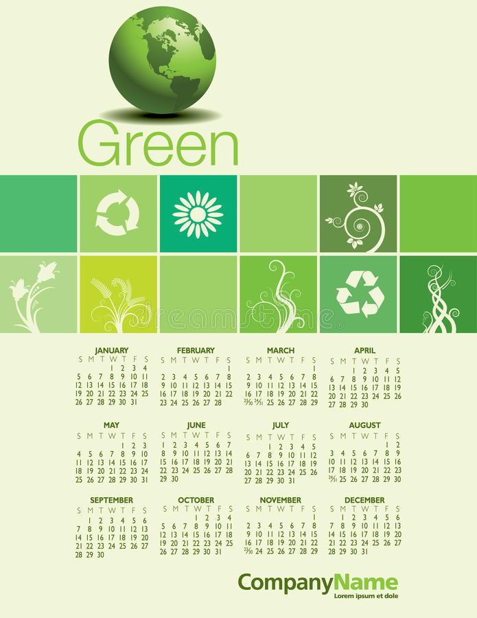创造性的绿色2014日历 皇族释放例证