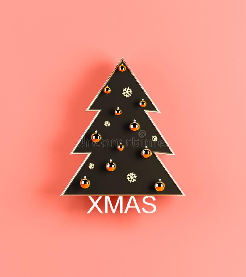 创造性的3d与圣诞树的renderind圣诞节居住的珊瑚背景 库存例证