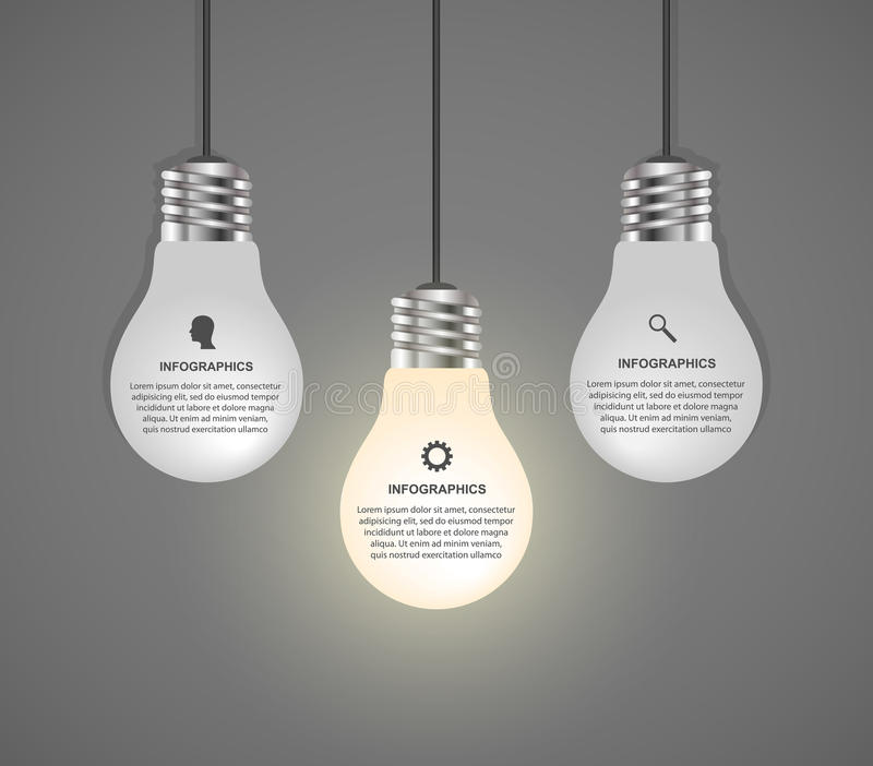 创造性的3D电灯泡infographics设计模板 库存例证