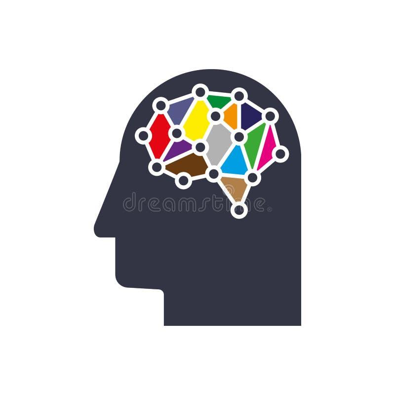 创造性的AI认为系统概念 数字滤网聪明的脑子想法 未来派交互式神经网络栅格连接 皇族释放例证