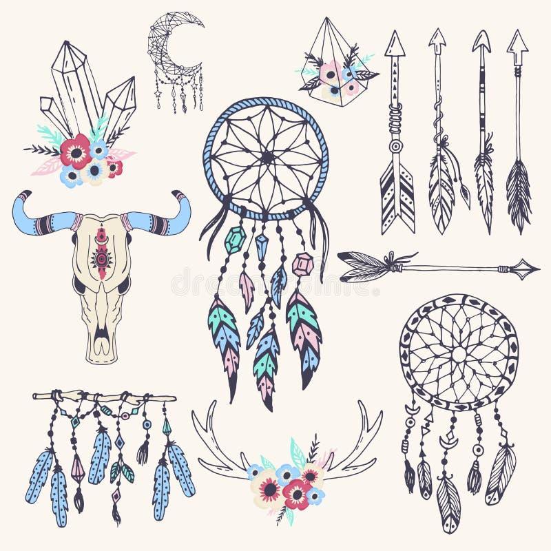 创造性的boho样式构筑马迪种族羽毛箭头,并且花卉元素导航例证 皇族释放例证