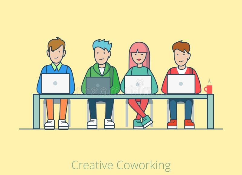 创造性的coworking的工作平的网infographic conce 库存例证