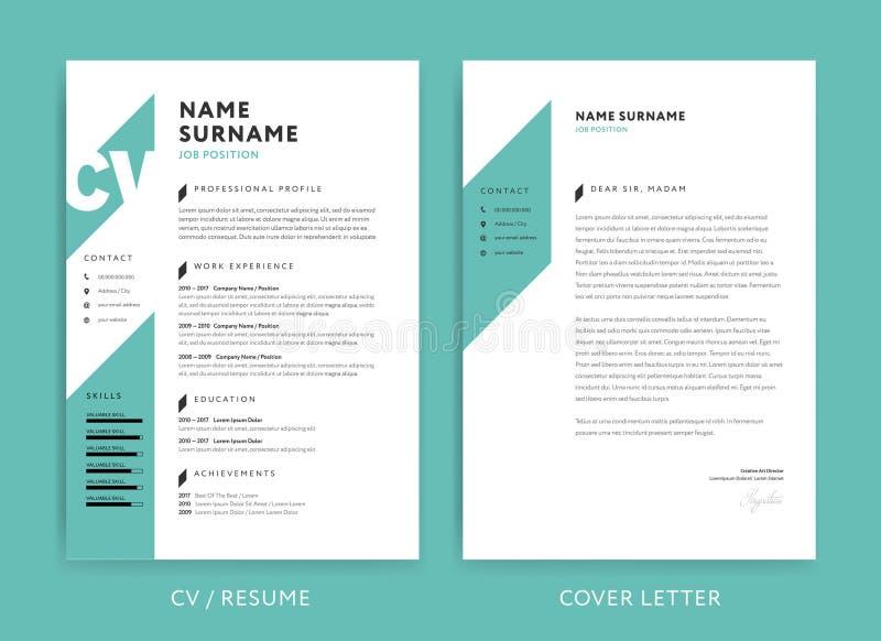 创造性的CV/简历模板小野鸭绿色背景颜色极小值 向量例证