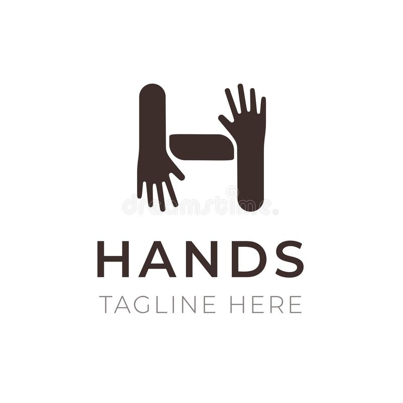 创造性的H信件商标设计 递连接标志 公共、合作、家庭和友谊 时髦象征为 向量例证