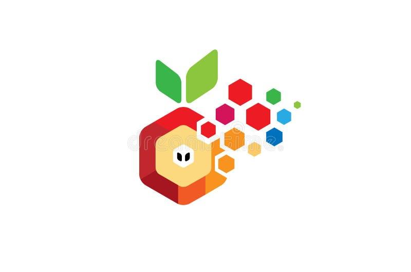 创造性的W信件六角Pixelated橙色FruitLogo设计标志传染媒介例证 皇族释放例证