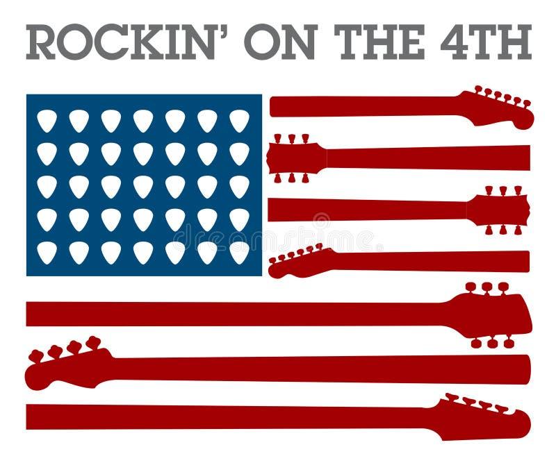 创造性第4 7月摇滚乐海报 皇族释放例证