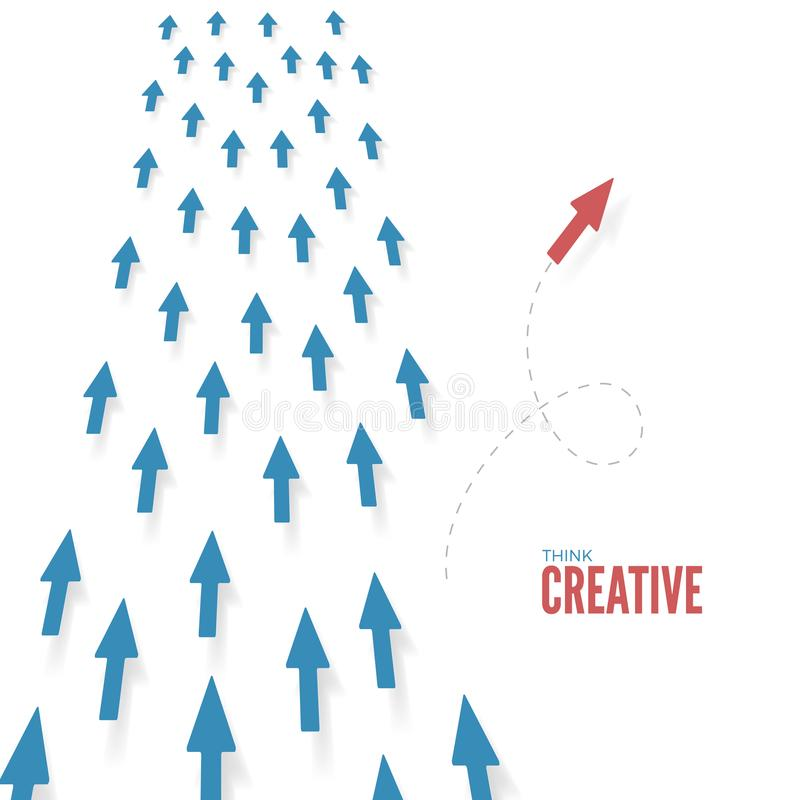 创造性认为 红色箭头行动到不同的方式里 思想自由想法和解答 到达天空的企业概念金黄回归键所有权 向量 库存例证