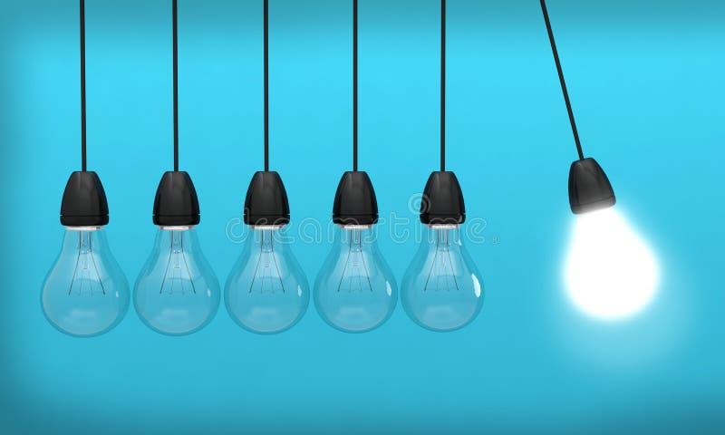 创造性轻的想法电灯泡的创新 向量例证