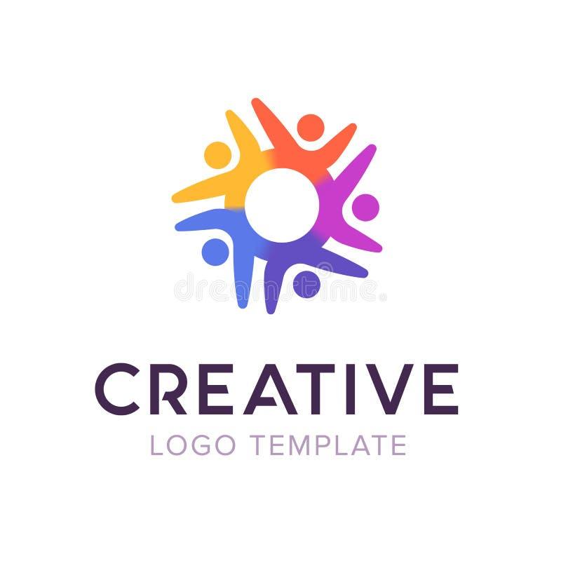 创造性连接人商标 家庭商标模板 保险标志 公共社会图表传染媒介模板 库存例证