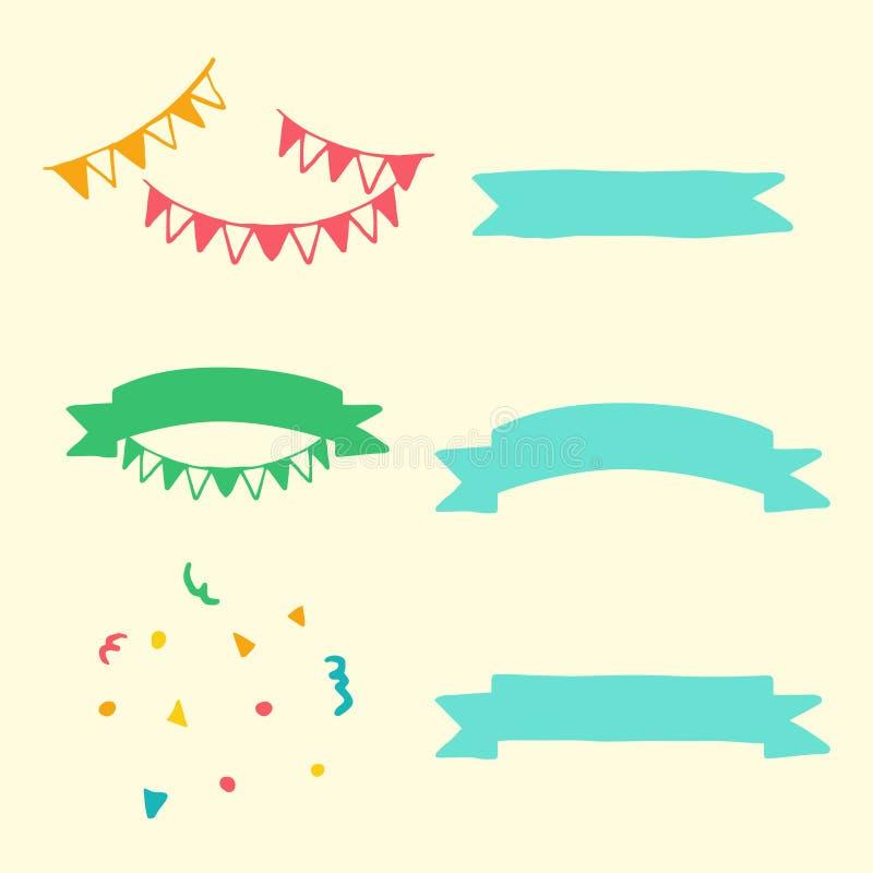 创造性,套手拉的乱画动画片反对和在生日聚会元素的标志 皇族释放例证