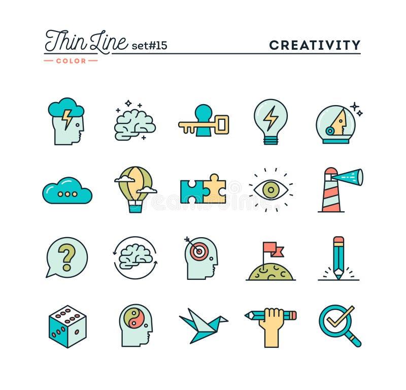 创造性,想象力,解决问题,头脑力量和更多, t 皇族释放例证