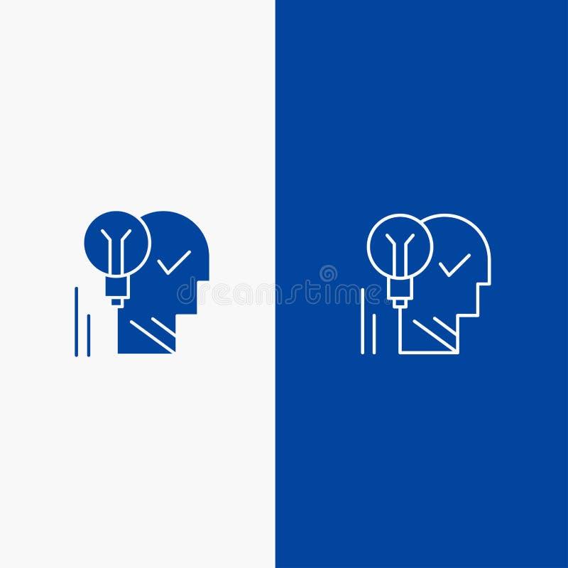 创造性,脑子、想法、电灯泡,头脑,个人,力量、成功线和纵的沟纹坚实象蓝色旗和纵的沟纹坚实象 向量例证