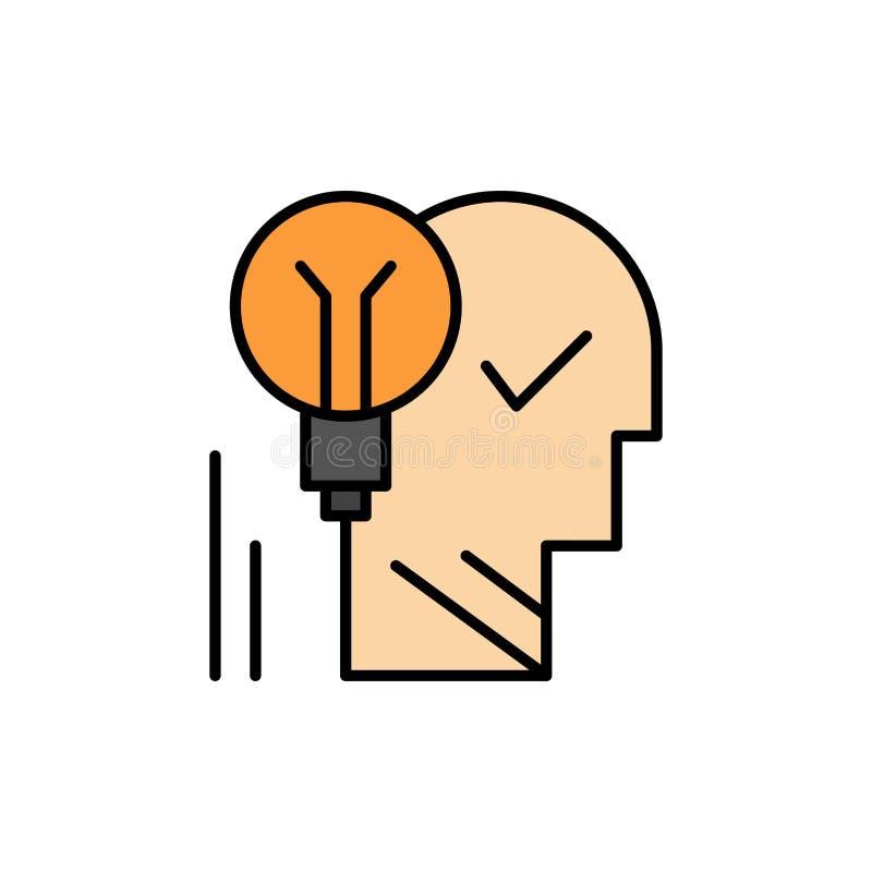 创造性,脑子,想法,电灯泡,头脑,个人,力量,成功平的颜色象 传染媒介象横幅模板 皇族释放例证