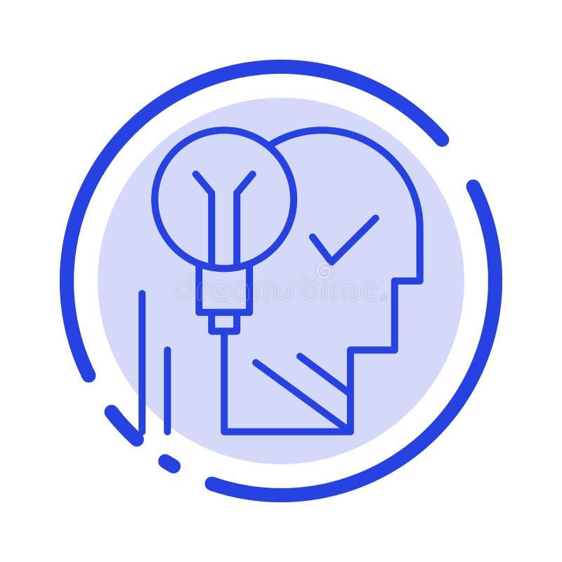 创造性,脑子,想法,电灯泡,头脑,个人,力量,成功蓝色虚线线象 向量例证