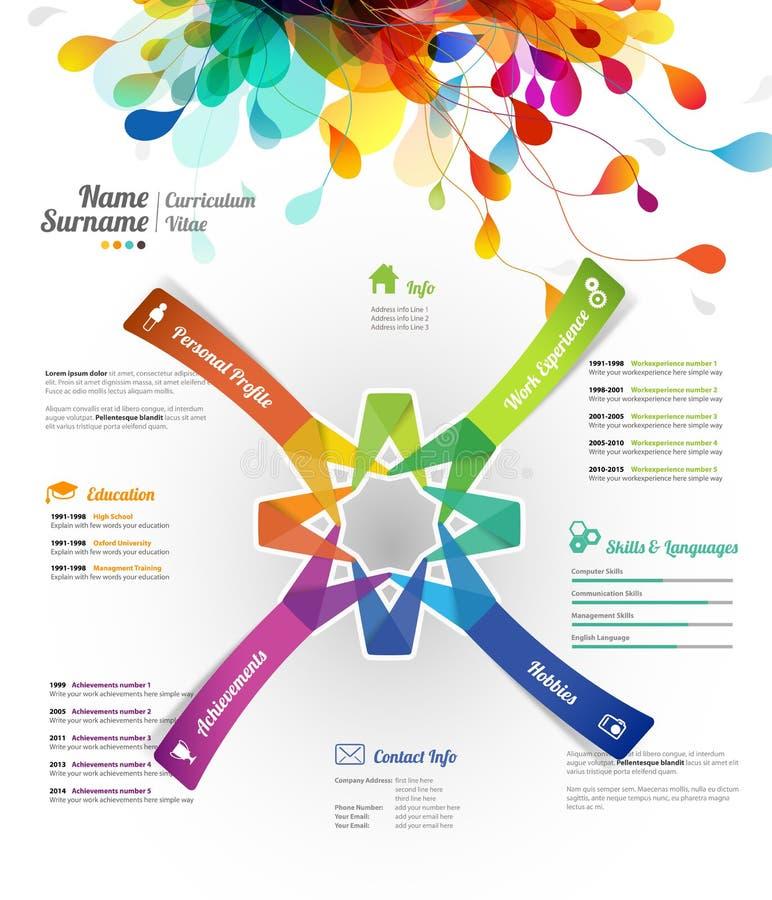 创造性,颜色富有的CV/简历模板 库存例证
