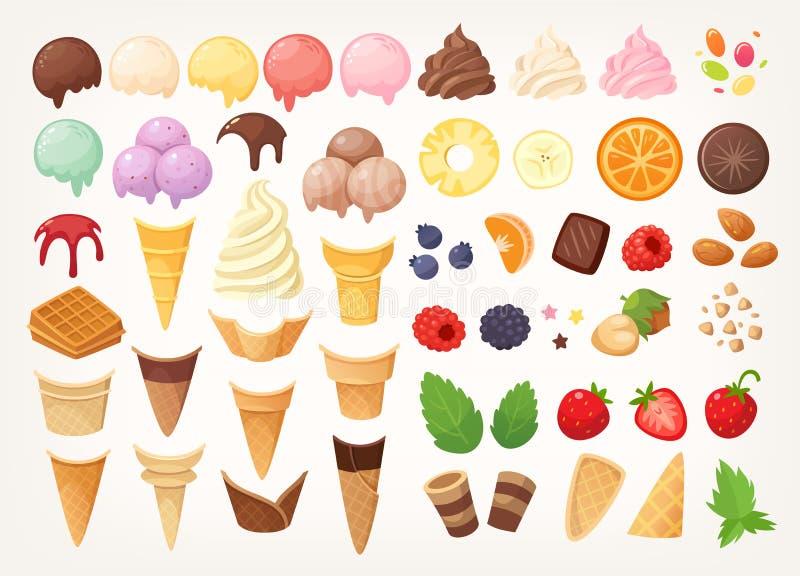 创造您自己的冰淇淋的元素 冰锥体、杯子、瓢和顶部 图库摄影