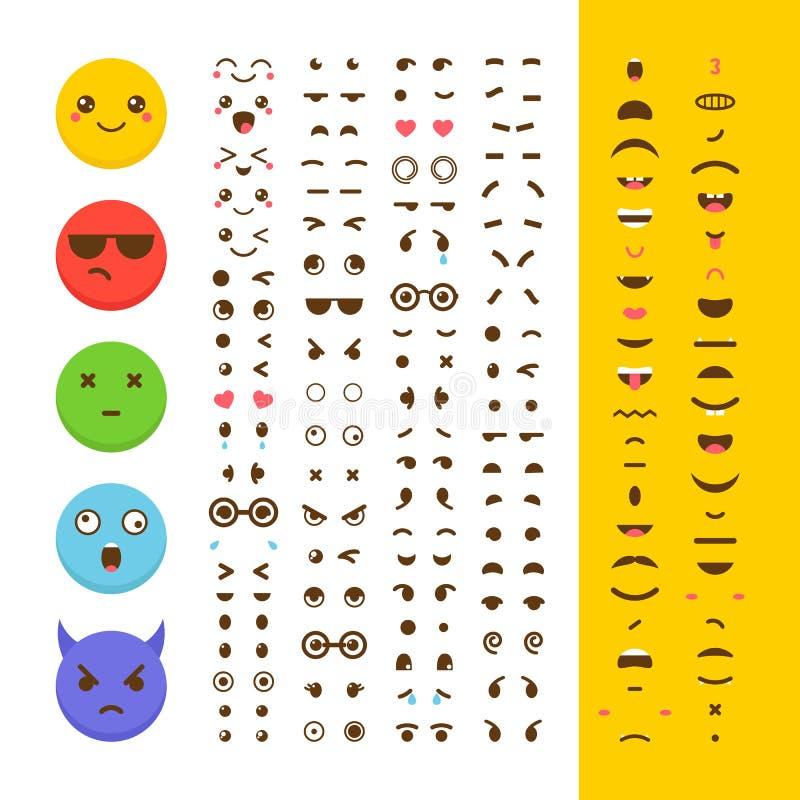 创造您自己的意思号 Kawaii面对 Emoji 具体化 字符 向量例证