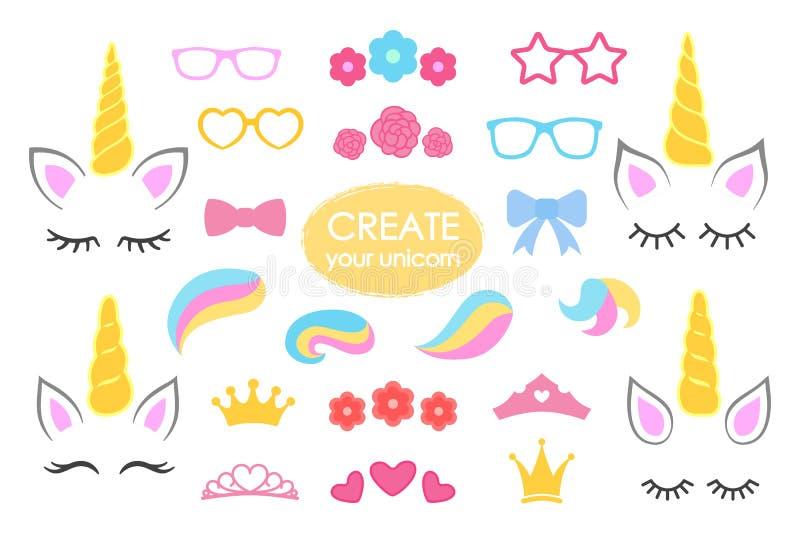 创造您自己的独角兽-大传染媒介收藏 独角兽建设者 逗人喜爱的独角兽面孔 独角兽细节- Horhs,睫毛,耳朵, 库存例证