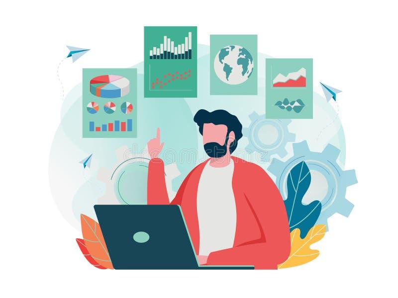 数据分析 经营计划日程表 创造想法对成功 图表,圆形统计图表,信息图表 平的卡通人物 库存例证